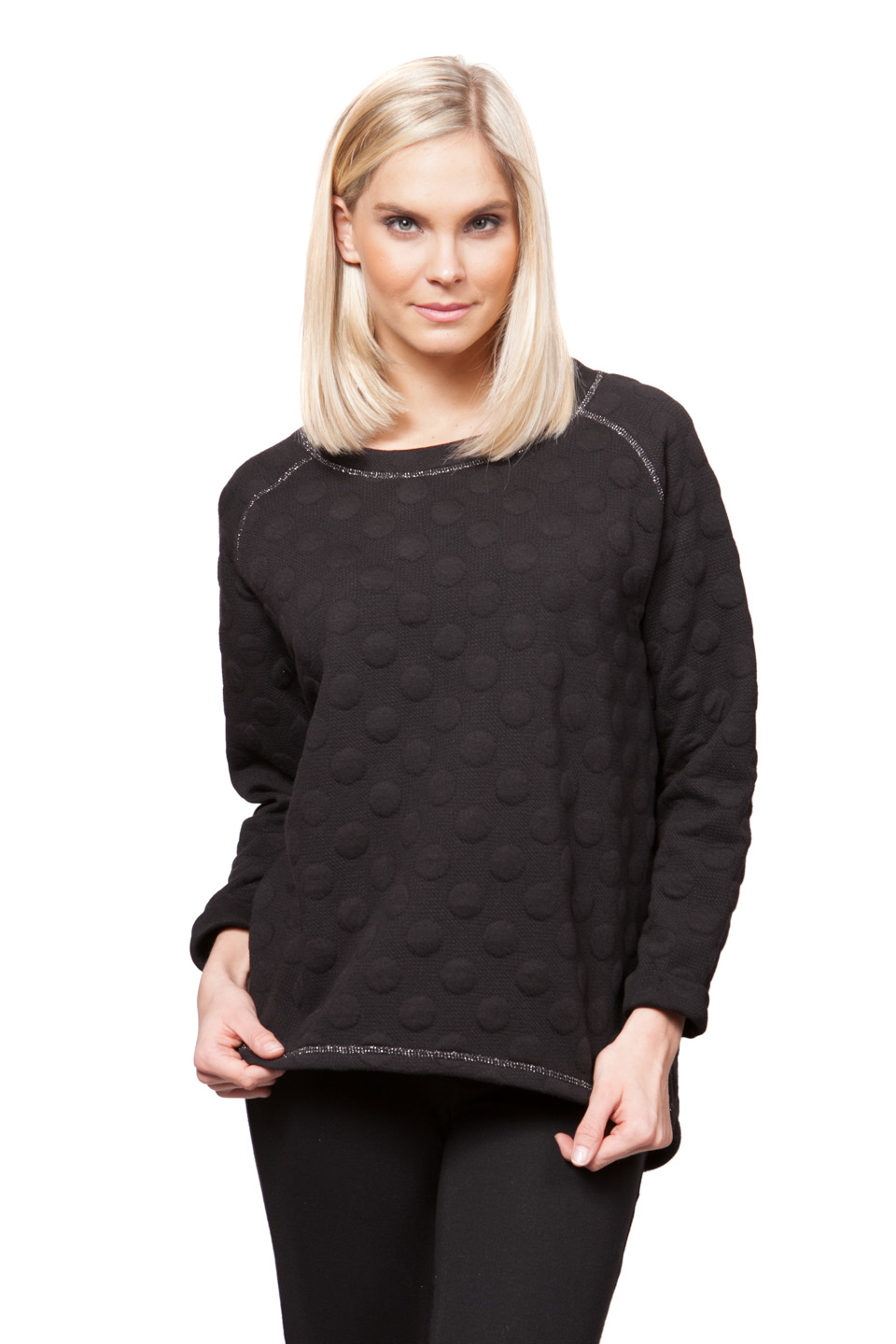 Copy of Style # 40273-16, p. 14<br>Bubble Dot Blister Sweatshirt<br>Color: Black, 2 colors