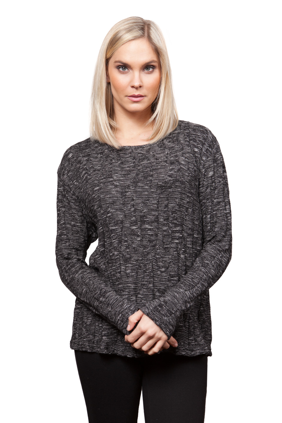Copy of Style # 18299-16, p. 14<br>Space Dyed Jacq'd Knit<br>Color: Ebony, 2 colors<br>&nbsp