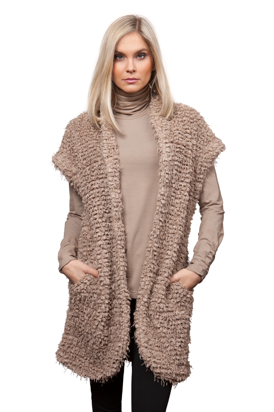Copy of Style # 65275-16, p. 15<br>Faux Fur Poodle<br>Color: Mushroom, 2 colors<br>w/ Cashmerette Separates p. 7