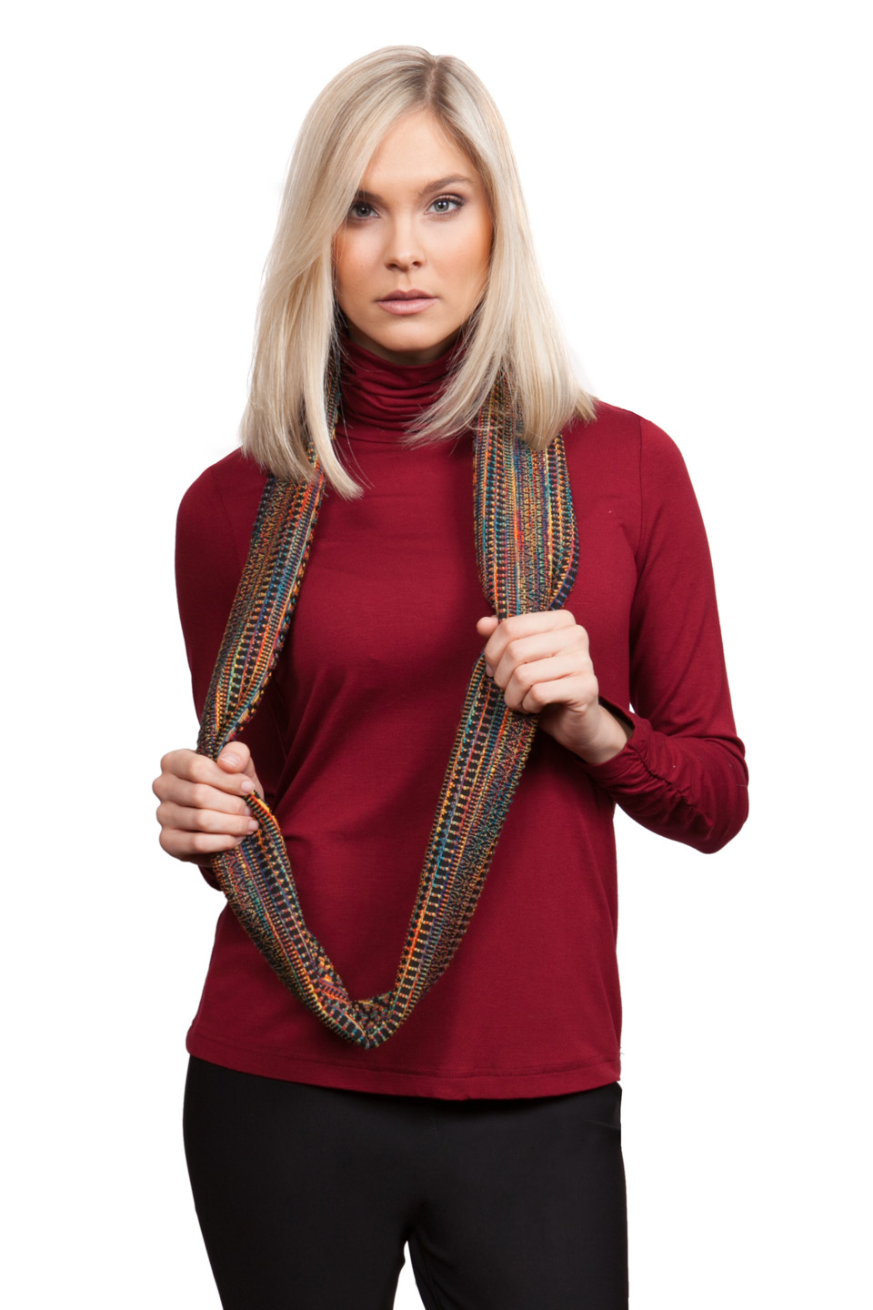 Copy of Style # 33405-16, p. 7<br>Cashmerette Separates<br>Color: Garnet, 10 colors<br>Fair Isle Infinity Scarf, p. 11