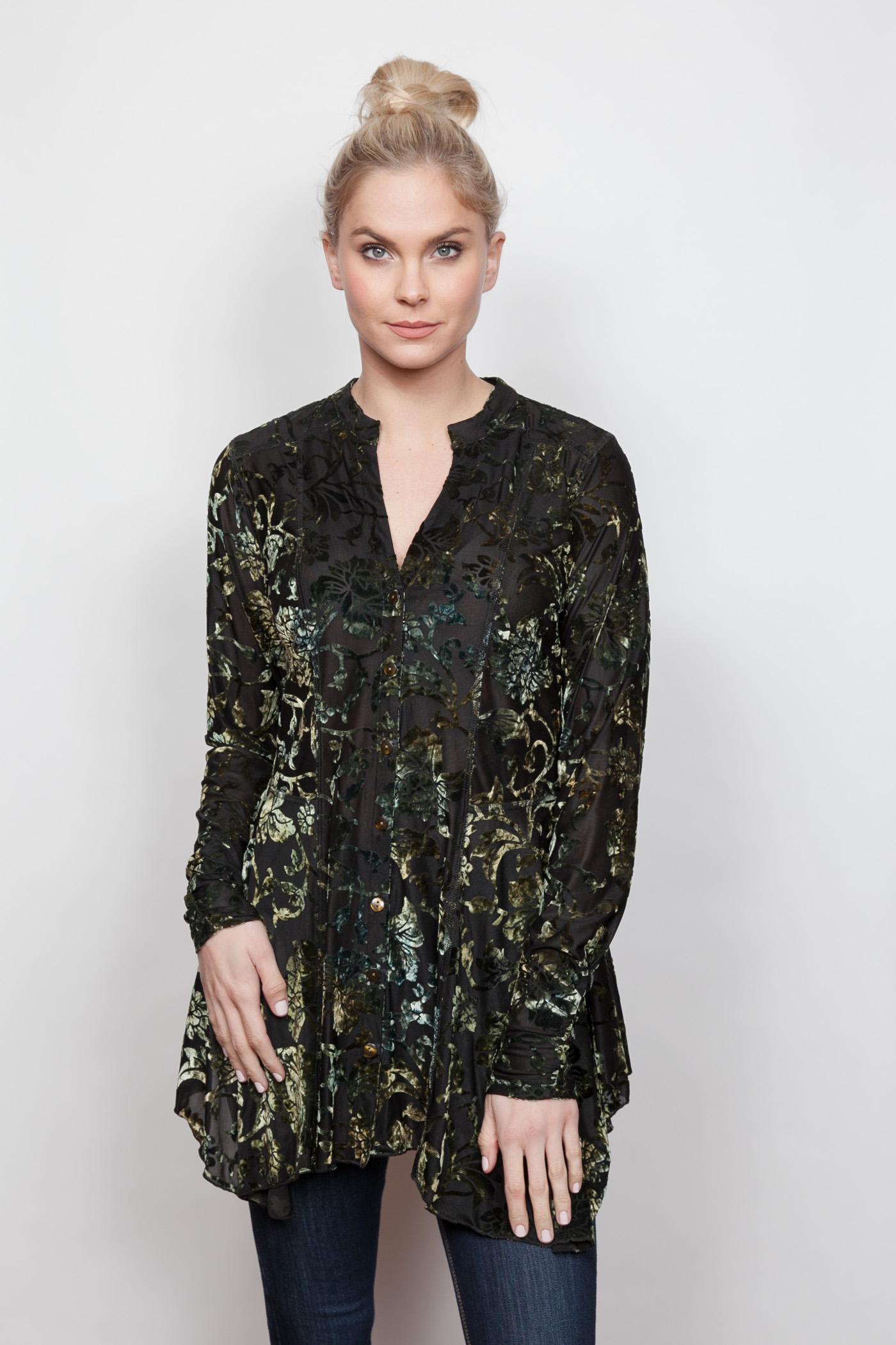 Copy of Style # 13202-18, p 12 </br>Burnout Velvet Prints </br>Pattern: Emerald + 3 others