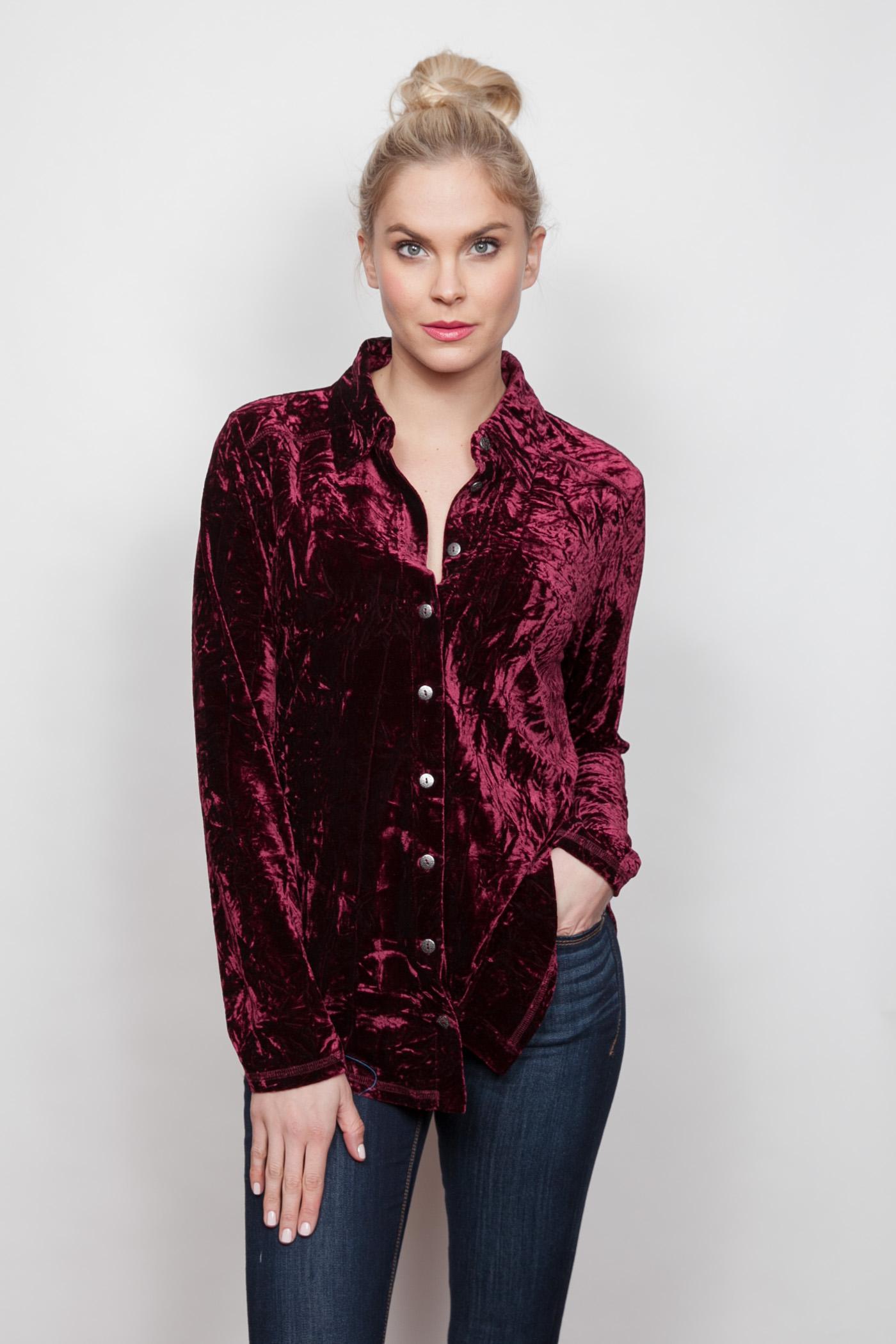 Copy of Style # 15379-18, p 12 </br>Crinkled Crushed Velvet </br>Color: Merlot + Black, Sapphire