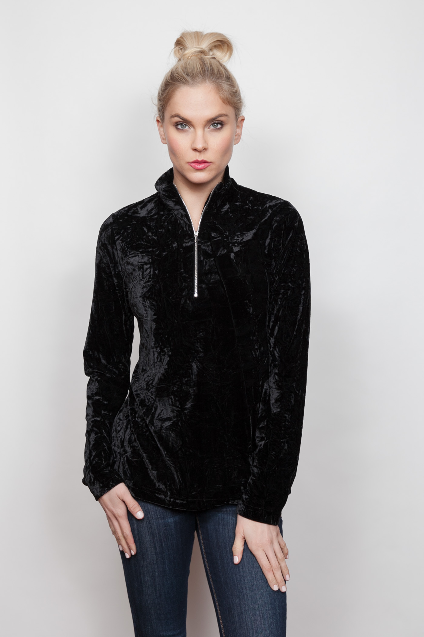 Copy of Style # 15449-18, p 12 </br>Crinkled Crushed Velvet </br>Color: Black + Merlot, Sapphire