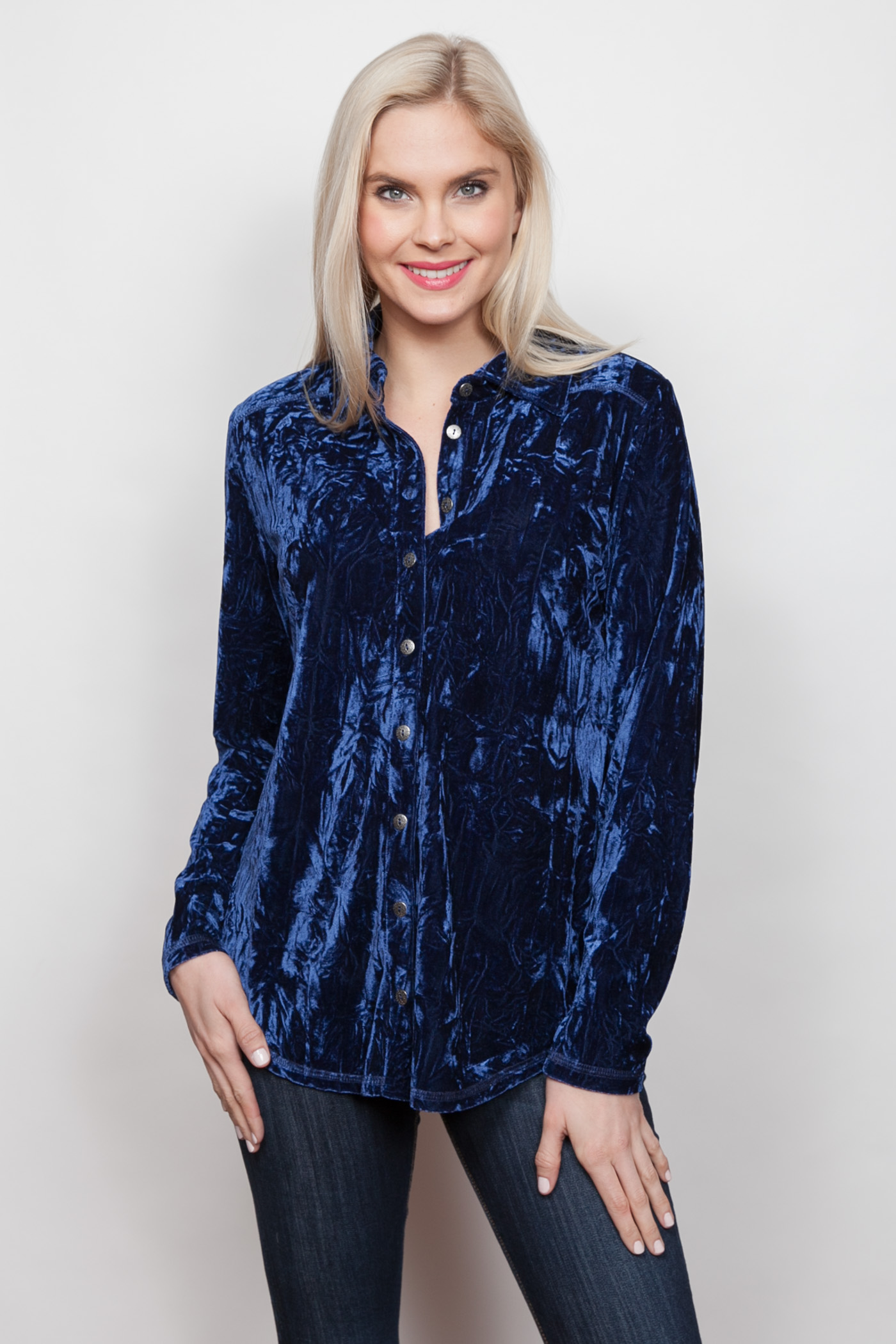 Copy of Style # 15379-18, p 12 </br>Crinkled Crushed Velvet </br>Color: Sapphire + Black, Merlot