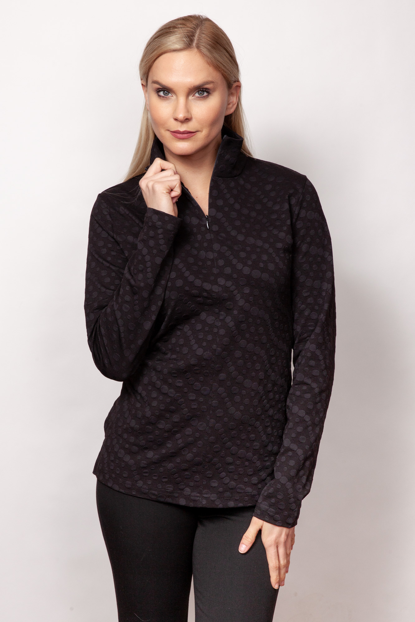 Copy of Style # 48389-19, p11 <br/>Dots Sport Jacq'd <br/>Colors: Black + 4 others