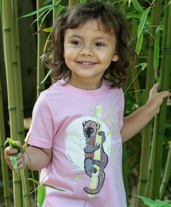 SpeeZees 100% GOTS certified organic cotton Greater Bamboo Lemur kids tee in Pastel Pink.  $1 from every SpeeZees tee  supports: Association Mitsinjo,  mitsinjo.org http://speezees.com/shop/greater-bamboo-lemur-pastel-pink