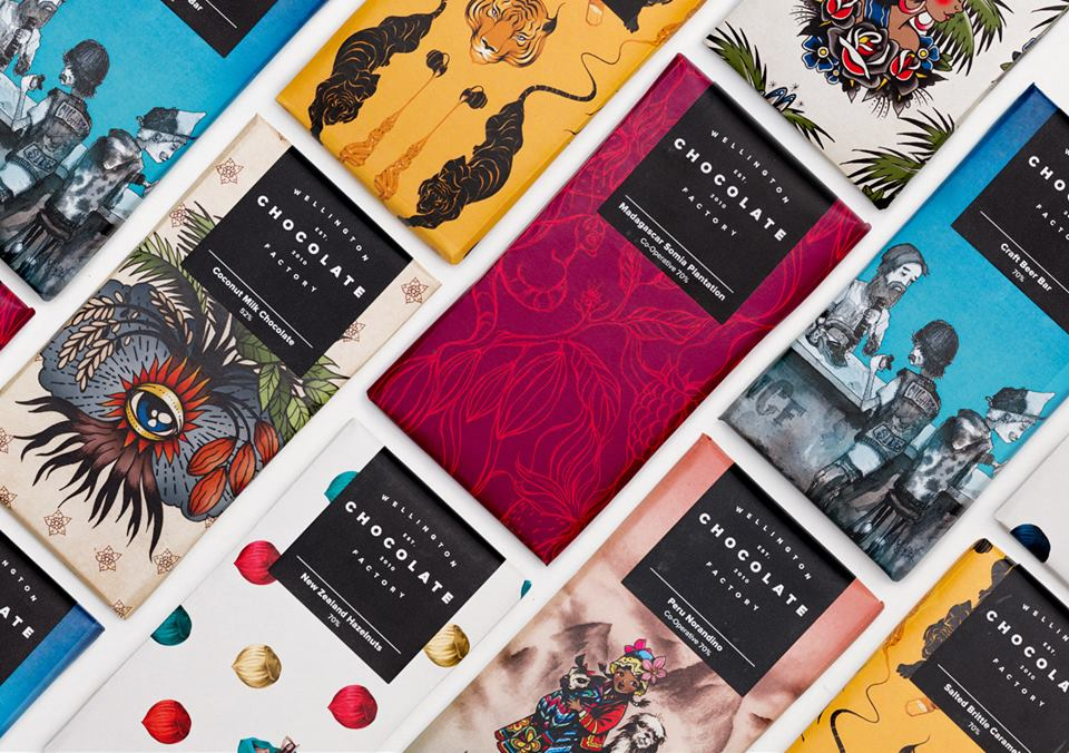 Colourful wrappers designed by local New Zealand artists, capturing the induvidual story each bar has.