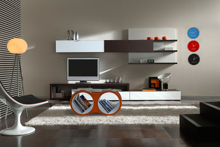 BOLLA 2 with Glass Top modern shelving storage coffee table