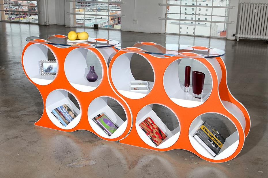 Pair of BOLLA 4 Modern Shelving in Tangerine