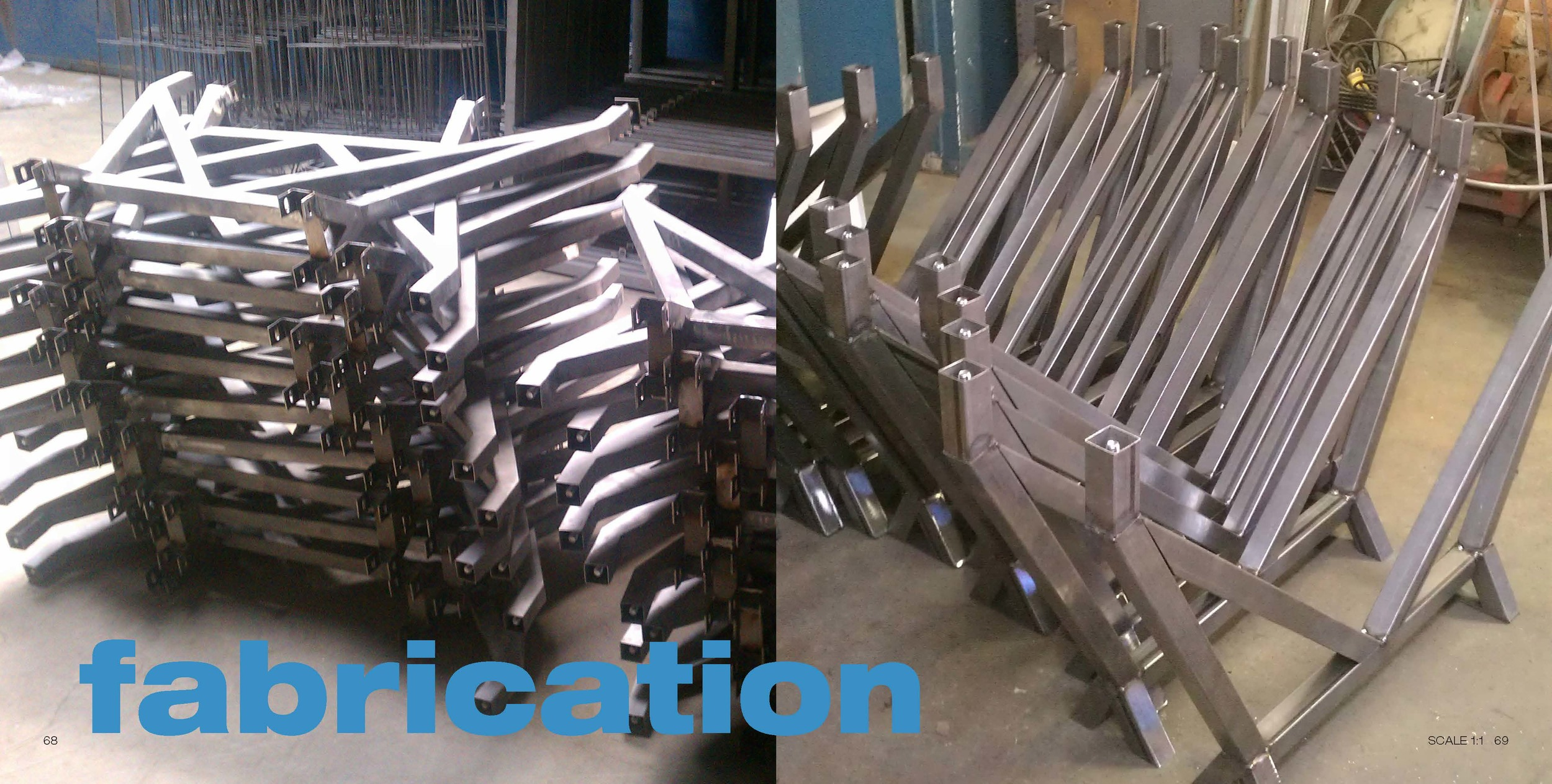 Production run of EYHOV Double legs ready for powder coating.