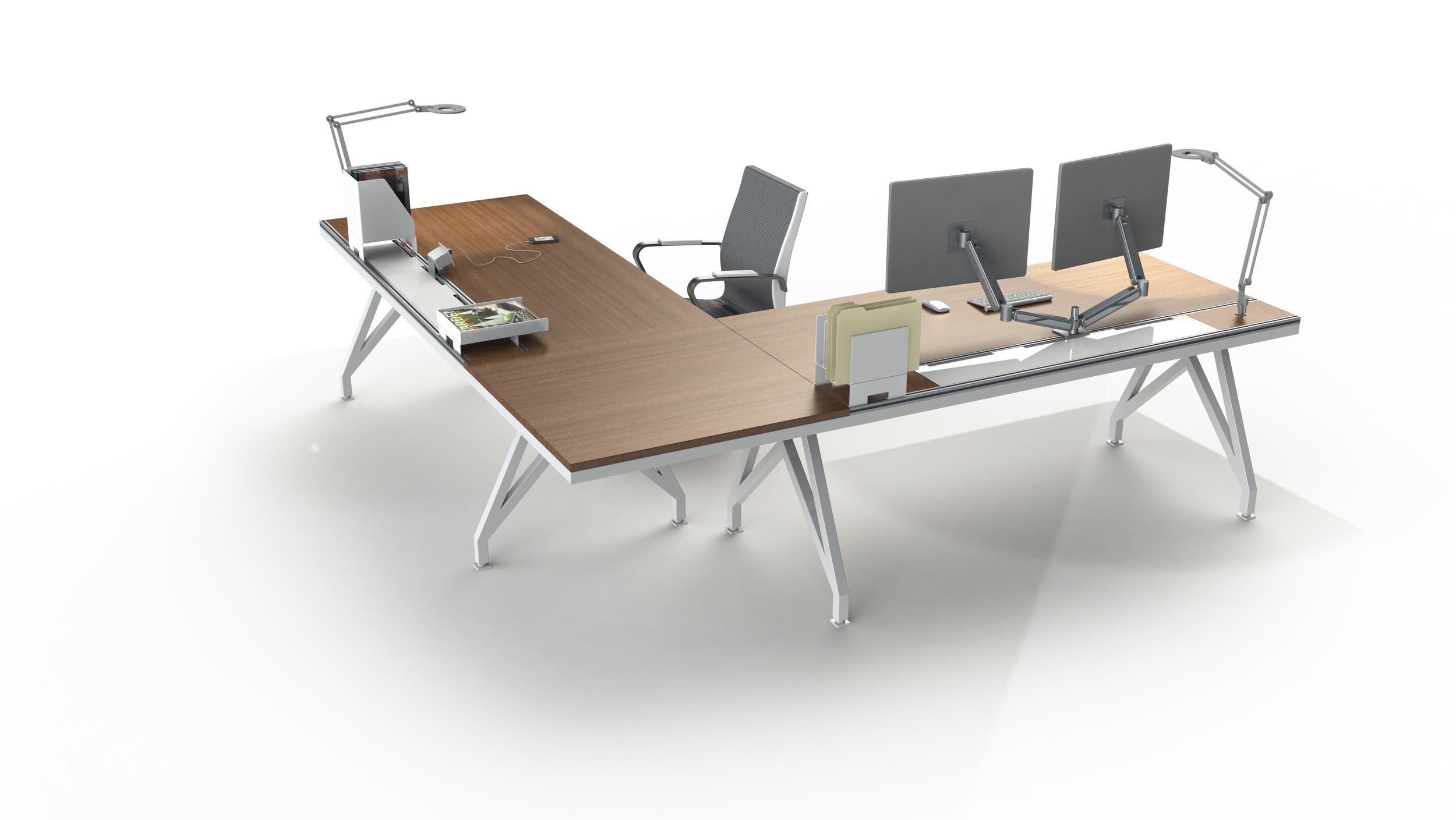 EYHOV Executive Hub Mahogany Workstation