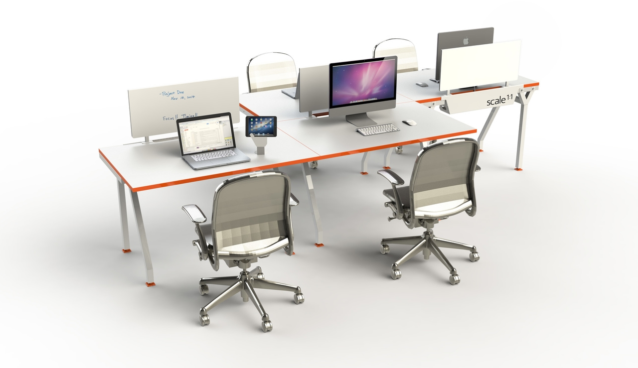 Flexible, expandable, mobile workstations. G-Series by Scale 1:1, a new collection of workstation, designed with just the right amount of work surface for creative minds.  Features: Simple - From Single desks to entire floor plan solutions. Easy - re-configures and expands. Upwardly Mobile - raise the work surface to standing height casters that allows for easy mobility and reconfiguration.