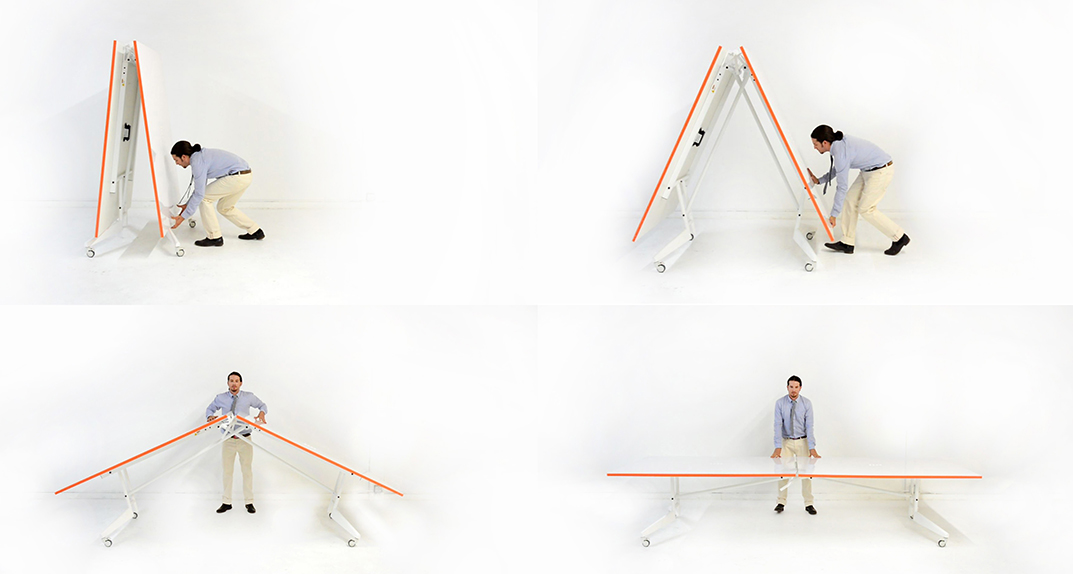 Step-By-Step unfolding NOMAD 12' Conference Table Whiteboard