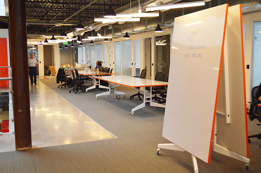 Folded up NOMAD 12' Whiteboard Conference Table