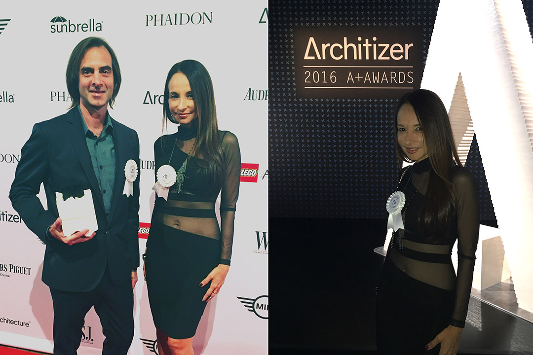 """David Winston and Clara Reis Winston - Founders of SCALE 1:1 attended the Architizer A+ Award Gala Event in New York City on May 12th, during design week.     Thank you  Architizer for Honoring the Best Architecture, Spaces & Products!     """"It's an honor to receive this award, especially knowing that our work was judged by an international jury of 300 + architects, cultural leaders and corporate leaders who hire architects. I'm impressed and inspired with the work of our team!""""  - Clara Reis"""