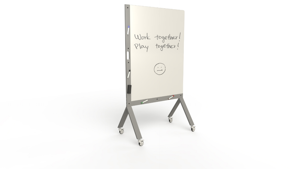 MARC, the Mobile Marker White Board with Handle Silver
