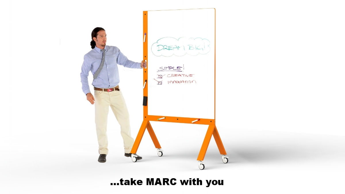 MARC, the Mobile Marker White Board with Handle Orange