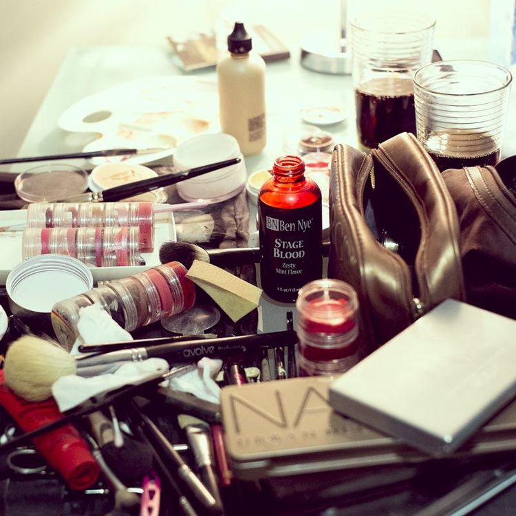 Amy's arsenal of tools. I wish I had taken a photo of her makeup bag on wheels - it was a sight to behold.