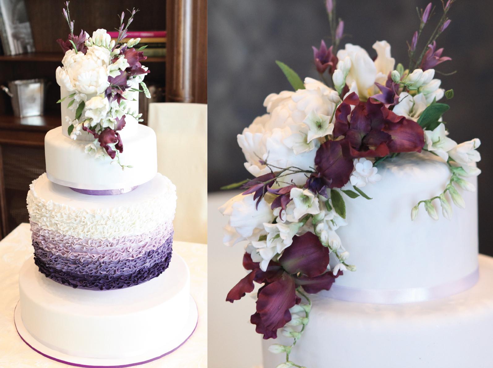 Градиентный торт с цветами