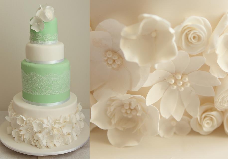 Зеленый торт с белыми цветами
