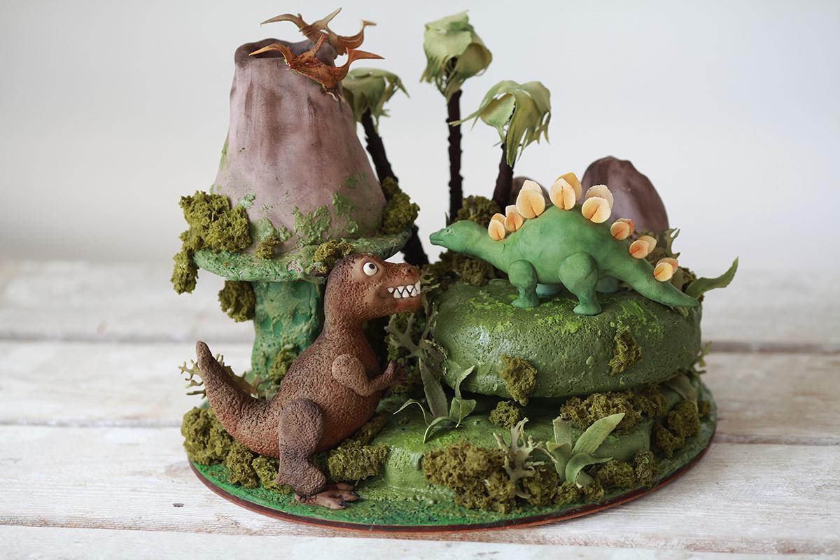Торт с динозаврамидля мальчика