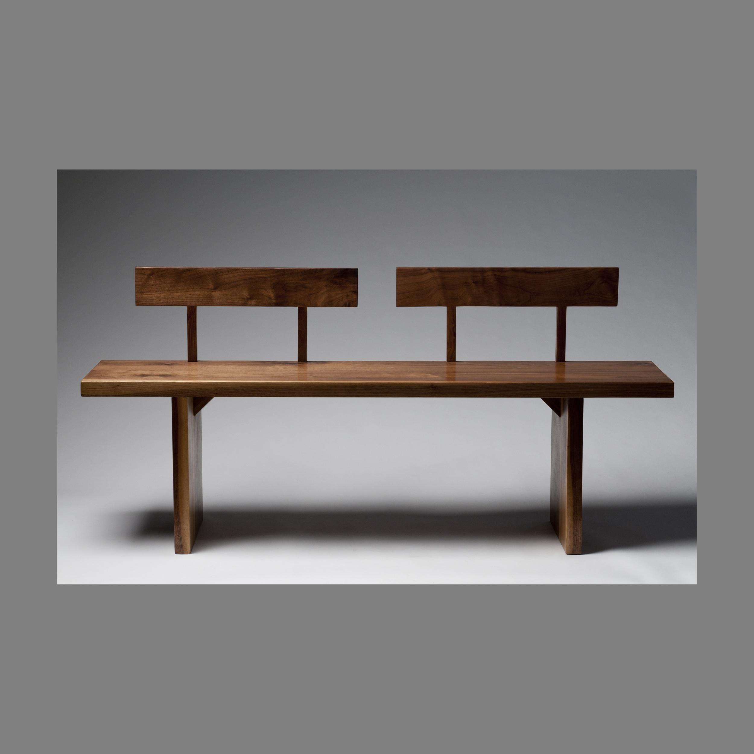 minimalist walnut bench