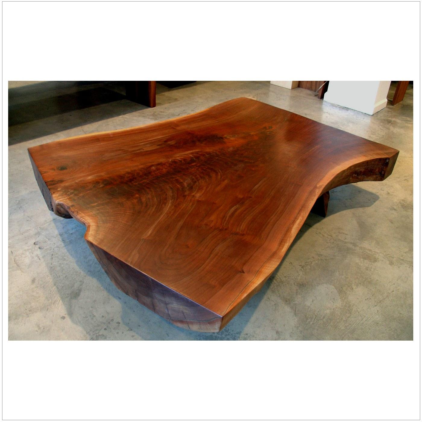 walnut slab cocktail table