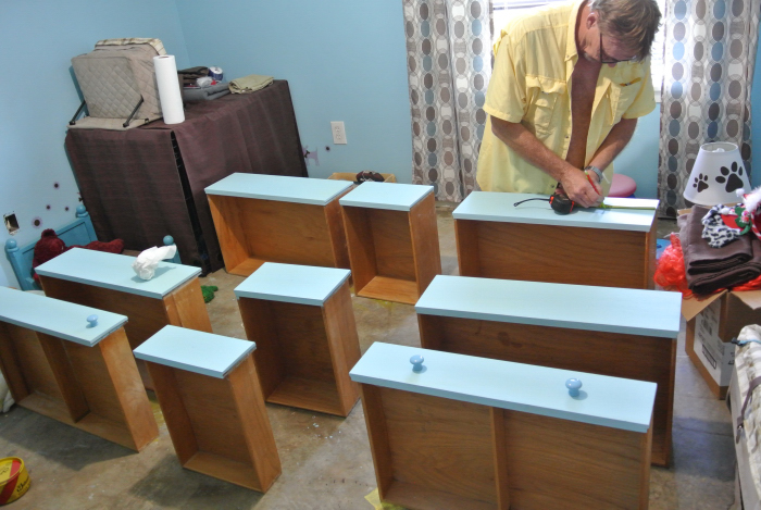 drilled for drawer knobs