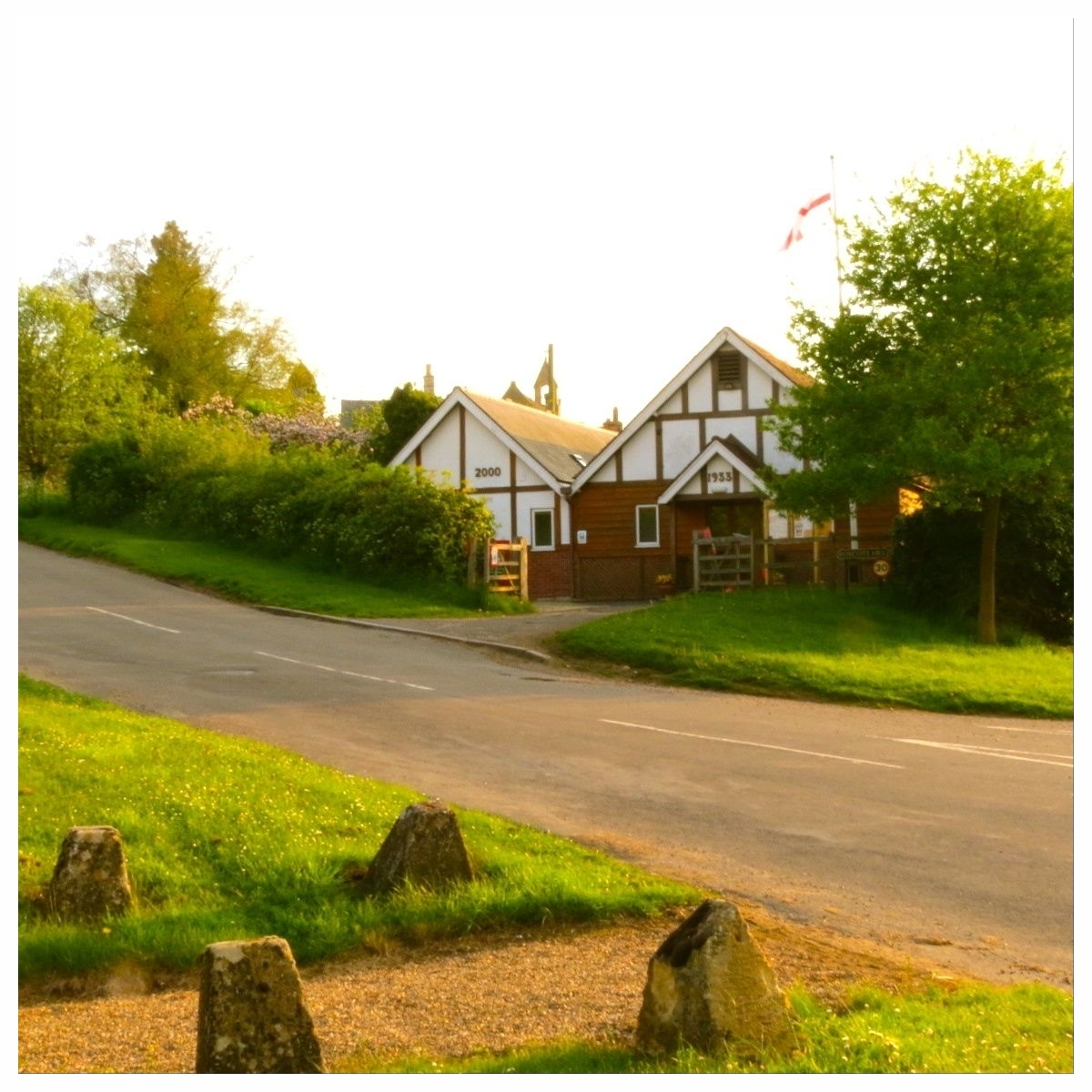 - Ilmington Village Hall from the foot of Foxcote Hill