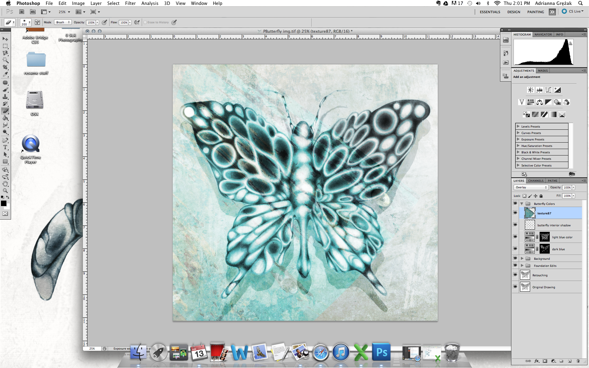 Experimenting with texture on the actual butterfly