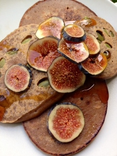 Buckwheat - Quinoa pancakes with pumpkin seeds, fresh figs, and coconut nectar.