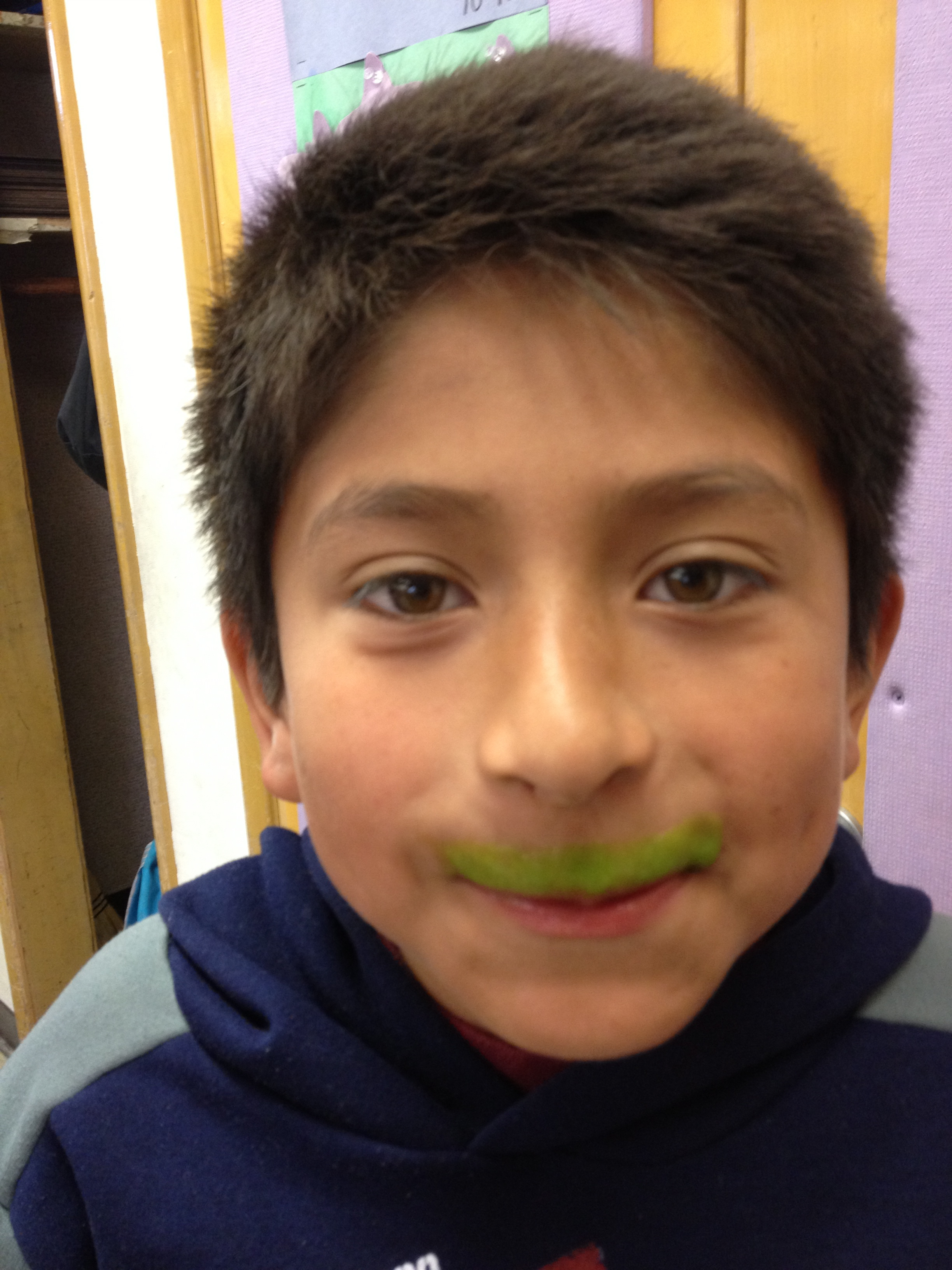 Danny's green smoothie mustache.