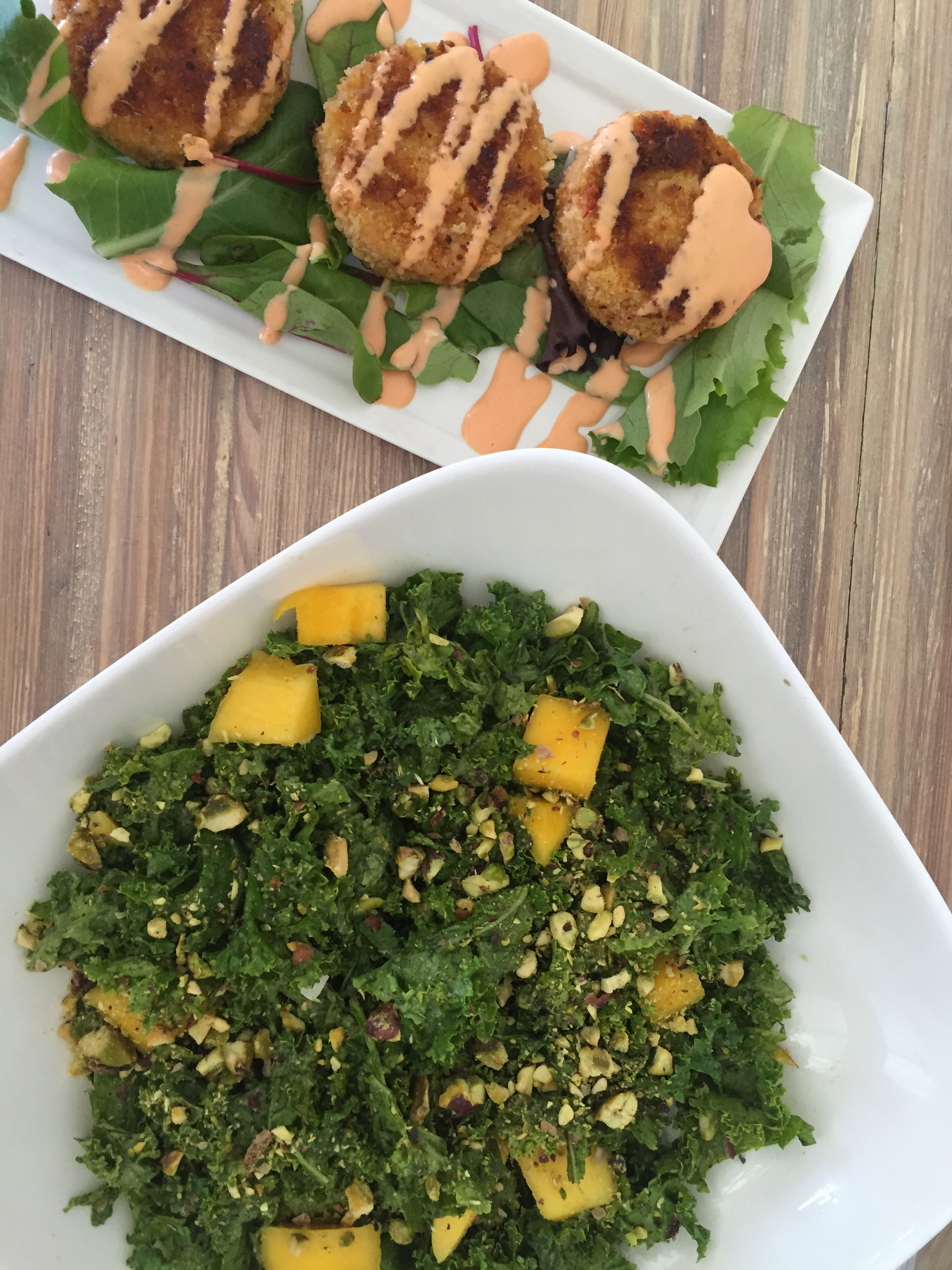 Mango + Kale salad and Artichoke Fritters from Seed
