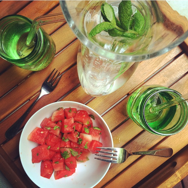 Meal rituals can be simple - adding fresh herbs awakens the senses. Watermelon plus mint and mint water