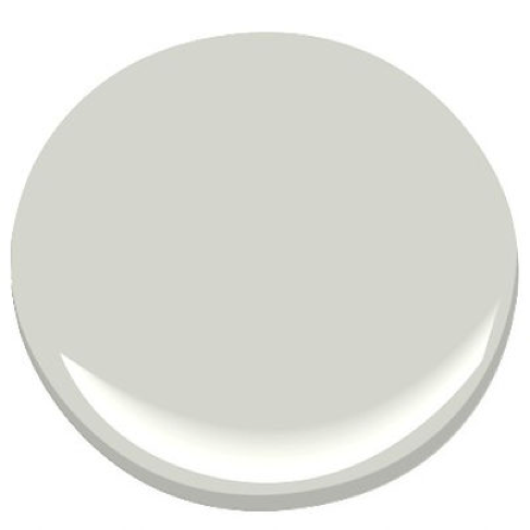 Ben Moore Grey Owl  It's the perfect pale Grey/Blue/Green. We have used it in living rooms, kitchens and bedrooms and clients LOVE it. Very soothing, light and airy.