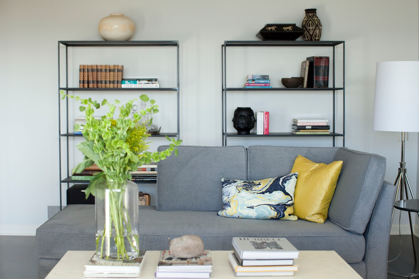 Living Room in Grey Owl by Hyde Evans Design  Photo by Benni Adams