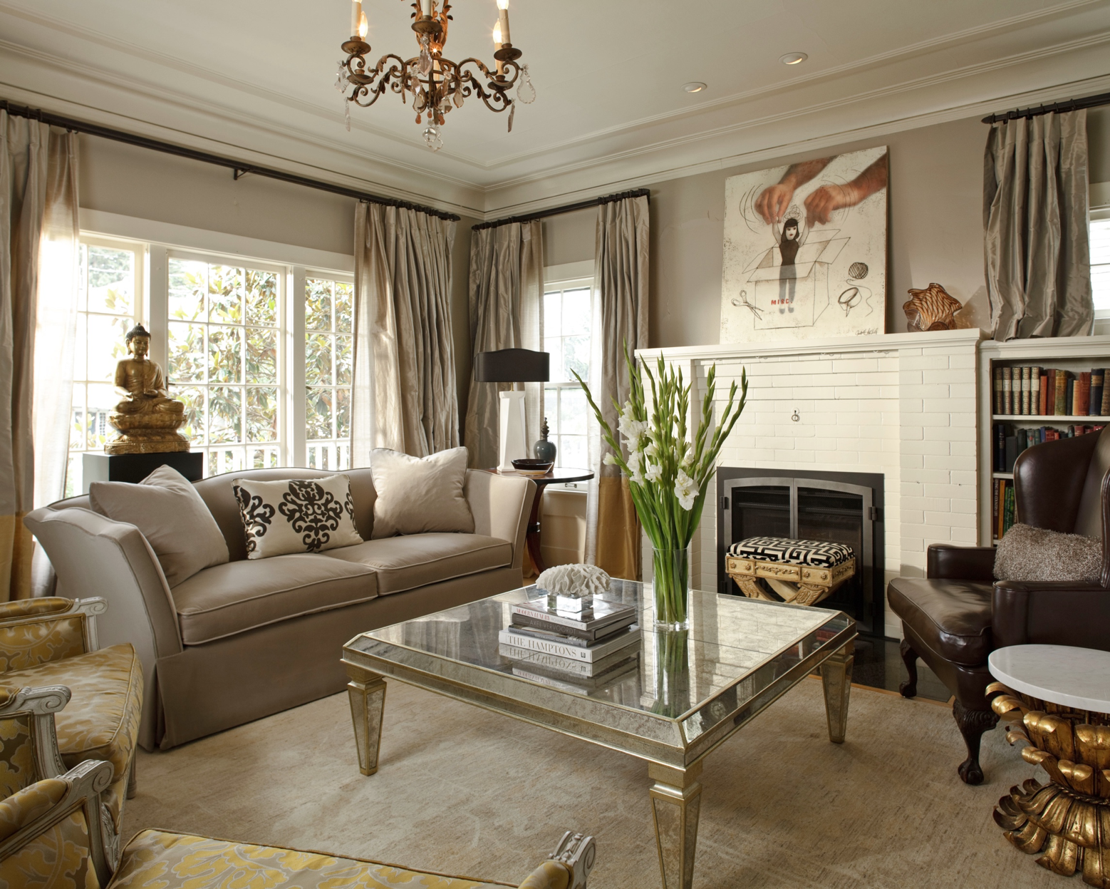Living Room in Platinum Grey by Hyde Evans Design  Photo by William Wright