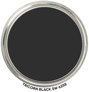 Sherwin Williams Tricorn Black  Tricorn black has the slightest bit of warmth to it, but otherwise is a very true black. Believe us, black is one of the hardest colors to get just right. Black paint can easily turn to Blue/Black or Green/Black, but we have had nothing but success with this shade.