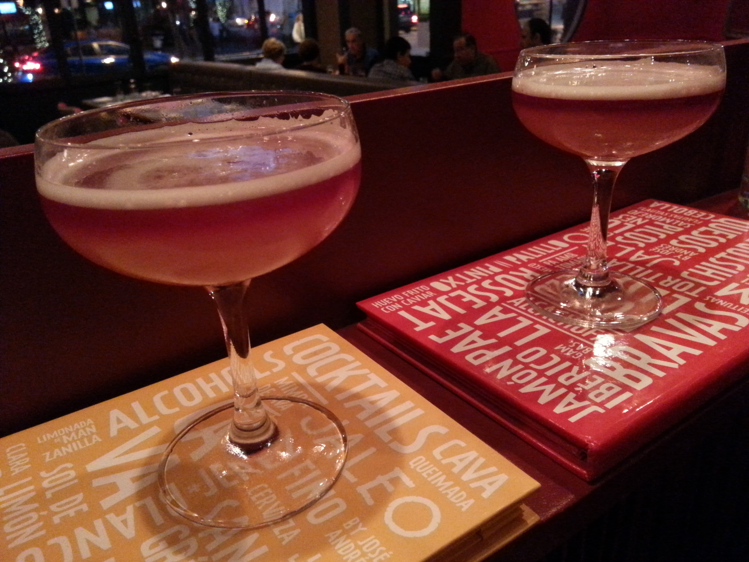 A New York Sour from Jaleo [rye, fresh lemon juice, simple syrup and a float of red wine]