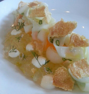 Pictured: Cuttlefish salad, melon, jalapeno jello, cuttlefish cracklins | Photo Credit: Michael Voltaggio//Twitter
