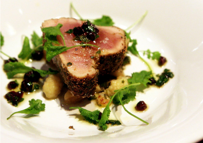 Albacore Tuna with Cauliflower and Currants | Theherbfarm.com
