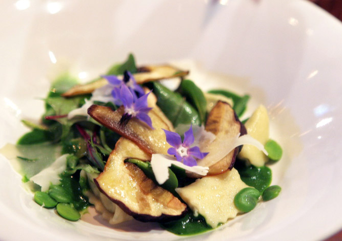 Goat Cheese Agnolotti with King Boletus Mushrooms and Fava Beans | TheHerbfarm.com