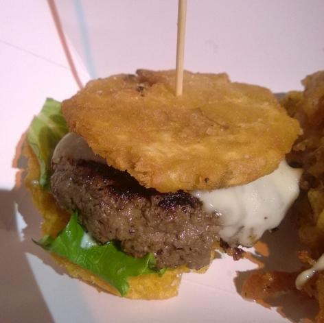This plaintain burger is like the Cuban ramen burger  | Photo Credit: Ozersky.TV