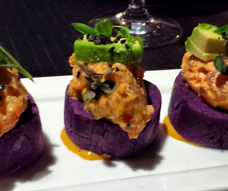 "Purple potato ""sushi"" cakes from Toro Toro D.C. | Photo Credit: Instagram, pamelaspunch"