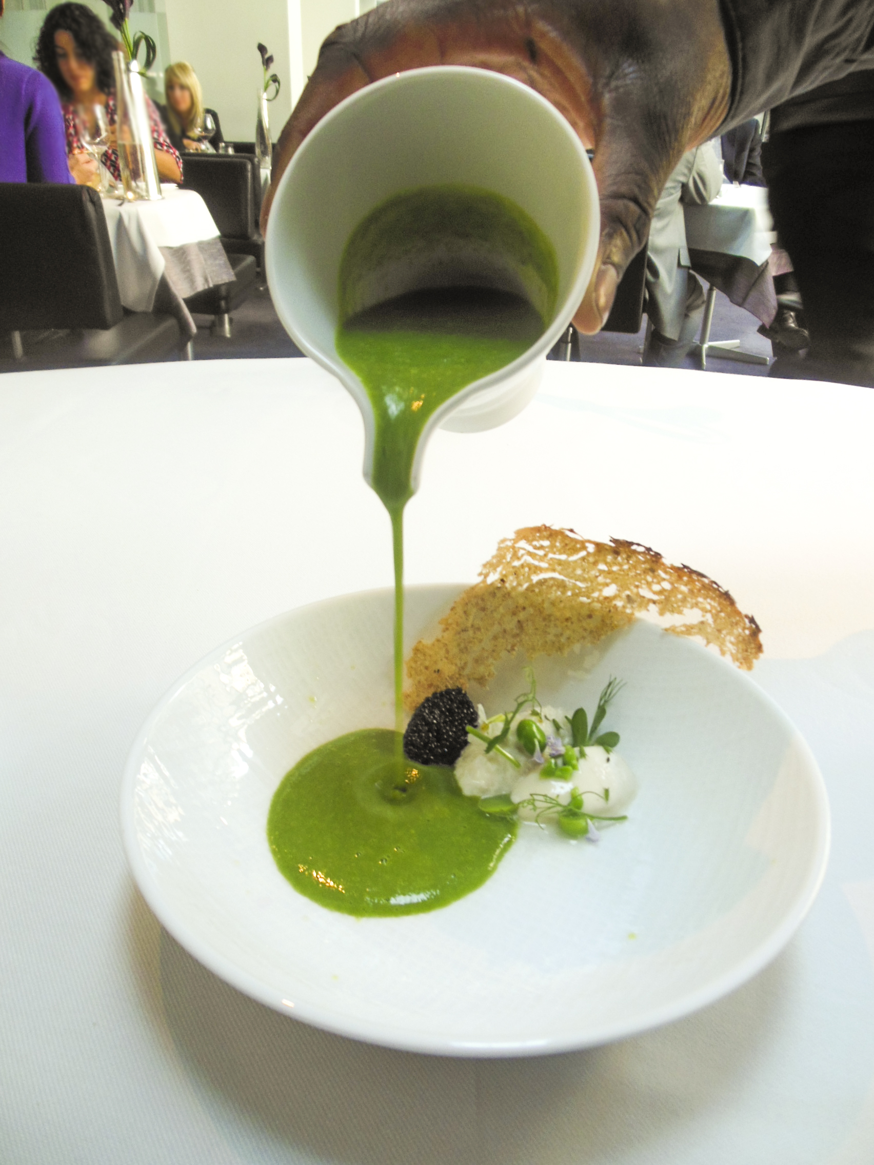 Amuse-Bouche: Smoked Sturgeon Caviar in Pea Puree