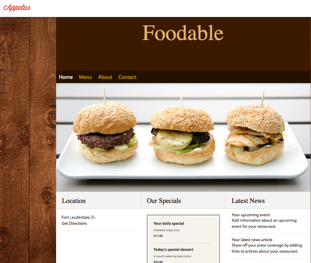 An Appetas sample site . | Foodable WebTV Network