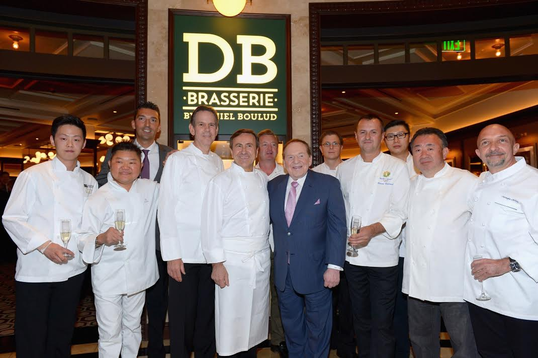 The property chefs of the Venetian Las Vegas with Chef Daniel Boulud and Chairman and CEO of Las Vegas Sands Corporation Sheldon Adelson