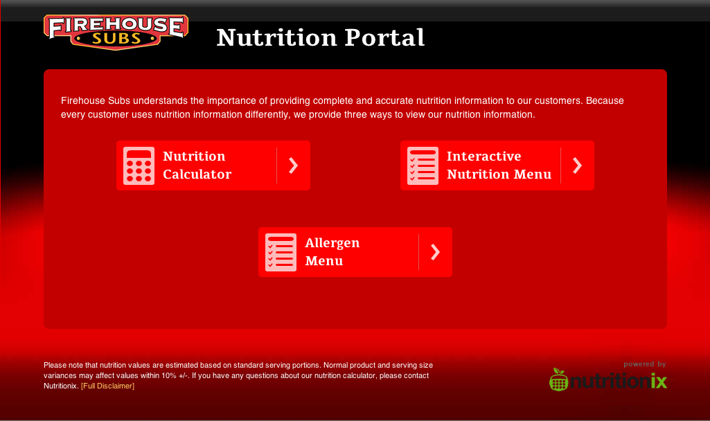 Brands like Firehouse Subs already provide detail nutritional informations to consumers on their website | Photo Credit: FirehouseSubs.com