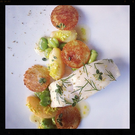 Turbot Glazed with Fava Beans and Bone Marrow, The Modern NYC | Credit: Instagram