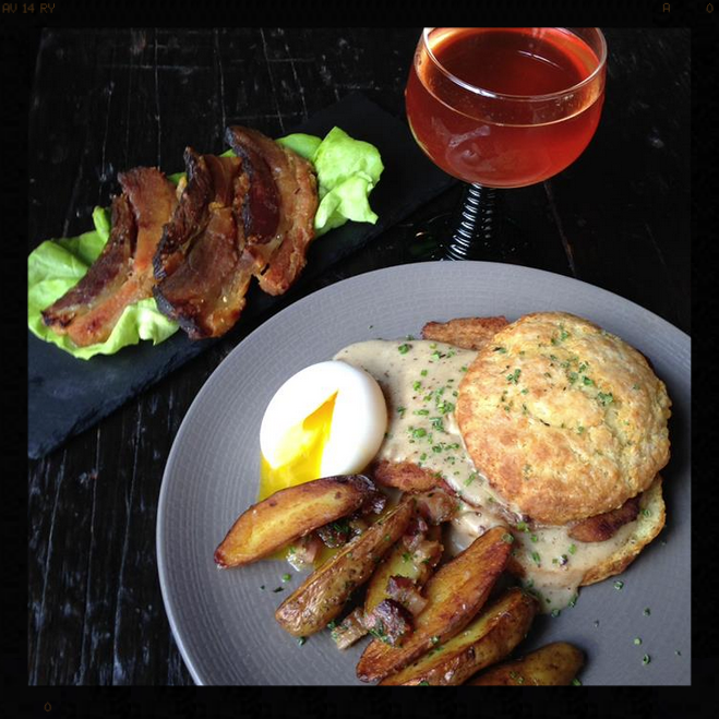 Schnitzel and Biscuits with Bratwurst Gravy and Soft-Boiled Eggs |Credit: Bronwyn Restaurant, Facebook